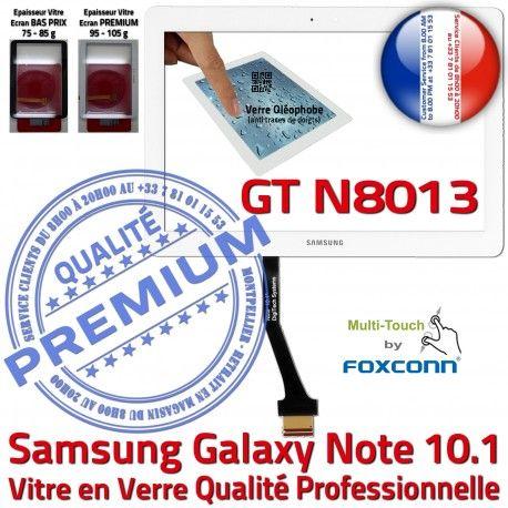 Samsung Galaxy NOTE GT-N8013 B Vitre Tactile Supérieure Adhésif 10.1 Assemblée GT Blanche PREMIUM en Ecran Verre LCD Qualité N8013 Prémonté