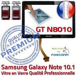 Verre Ecran 10.1 N8010 en Prémonté Vitre Galaxy Supérieure GT GT-N8010 PREMIUM Qualité N Adhésif NOTE Samsung Noire Tactile Assemblée LCD