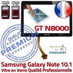 Prémonté GT 10.1 en Assemblée Tactile Noire PREMIUM Samsung Supérieure NOTE N8000 LCD Ecran Qualité Vitre Adhésif GT-N8000 Galaxy Verre N