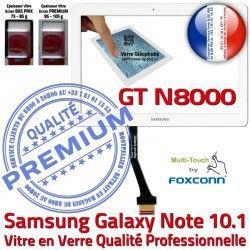 Supérieure Adhésif Prémonté 10.1 N8000 LCD Verre GT Vitre en PREMIUM Assemblée Qualité GT-N8000 Whi Samsung NOTE Tactile Blanche Ecran Galaxy