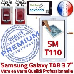 LITE Prémonté Verre T110 Assemblée TAB3 Blanc Qualité Adhésif SM-T110 PREMIUM SM Blanche Samsung Vitre Tactile en Ecran Supérieure LCD Galaxy