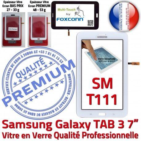 Samsung Galaxy TAB 3 SM-T111 B en Qualité T111 TAB3 SM Tactile 7 Vitre Assemblée LCD Blanche Ecran PREMIUM Adhésif Supérieure Verre Prémonté
