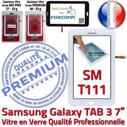 TAB3 Blanc Ecran SM LITE Blanche T111 Galaxy Adhésif Supérieure SM-T111 en LCD Vitre Assemblée PREMIUM Prémonté Samsung Tactile Qualité Verre