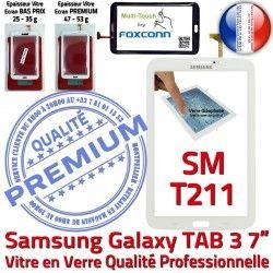 B Verre T211 TAB3 Samsung Adhésif Vitre SM-T211 Galaxy Prémonté Blanche PREMIUM Supérieure 3 LCD TAB Qualité en SM 7 Ecran Tactile Assemblée
