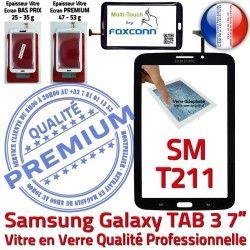 TAB3 Vitre TAB Qualité PREMIUM en Galaxy LCD Ecran Prémonté Tactile SM-T211 Supérieure 3 Assemblée N SM Adhésif 7 Verre T211 Noire Samsung