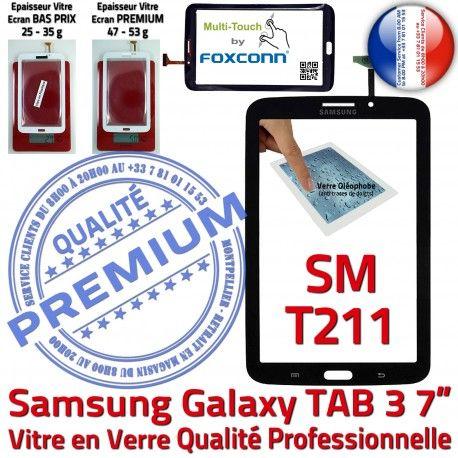 Samsung Galaxy TAB 3 SM-T211 N Prémonté PREMIUM Supérieure TAB3 Vitre Assemblée en Noire Adhésif Ecran Verre LCD Tactile Qualité T211 SM 7