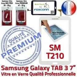 Tactile Qualité B SM-T210 3 Ecran T210 7 Prémonté TAB3 Assemblée Verre Galaxy PREMIUM en TAB Supérieure SM Blanche Samsung Adhésif Vitre LCD