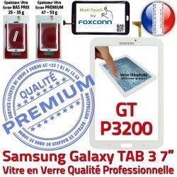 7 B Ecran GT-P3200 Qualité Assemblée Tab3 en Galaxy LCD Samsung Tactile Adhésif PREMIUM Vitre P3200 Prémonté Blanche TAB3 Verre GT Supérieure