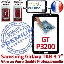 N GT-P3200 Galaxy Noire 7 Verre Samsung Prémonté Assemblée PREMIUM Tactile LCD Supérieure Ecran TAB Adhésif Vitre TAB3 3 Qualité en