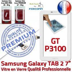 B TAB2 7 en P3100 Blanche Qualité GT-P3100 LCD Galaxy TAB GT Ecran Supérieure Verre Samsung Prémonté 2 Tactile PREMIUM Vitre Assemblée Adhésif