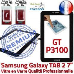 Vitre Prémonté Assemblée P3100 2 Ecran N LCD Samsung TAB2 Qualité Supérieure Galaxy 7 GT-P3100 Tactile en Adhésif PREMIUM TAB Verre Noire GT