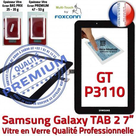 GT-P3110 TAB2 Noir Samsung 7 Supérieure Vitre GT P3110 LCD PREMIUM Assemblée Adhésif TAB Ecran Qualité Prémonté Galaxy Noire inch Tactile Verre 2