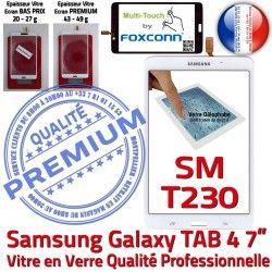 TAB4 LCD Adhésif Qualité Ecran Assemblée Prémonté Blanche Galaxy Tactile Verre SM-T230NZWAXEF B Vitre Samsung Supérieure PREMIUM