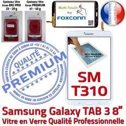 Galaxy Prémonté TAB 3 en T310 Assemblée B SM inch à TAB3 Verre Coller SM-T310 PREMIUM Qualité 8 Ecran Tactile Samsung Vitre Supérieure Blanche
