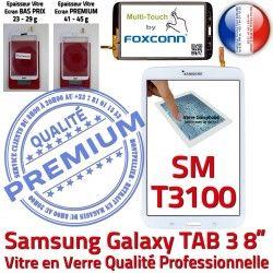 à Ecran Assemblée Vitre inch B 8 Samsung PREMIUM Verre TAB3 Blanche Qualité SM-T3100 Supérieure Galaxy Coller Tactile en Prémonté
