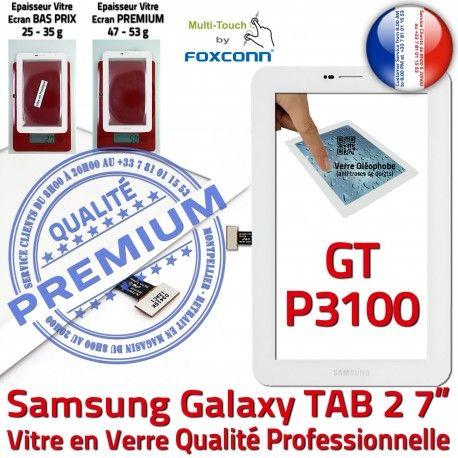 GT-P3100 TAB2 Blanc Prémonté Blanche Supérieure TAB Tactile inch Adhésif Qualité 7 2 PREMIUM P3100 Assemblée Vitre Verre LCD Ecran Galaxy Samsung GT