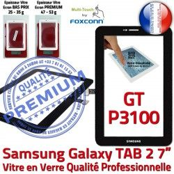 Noir PREMIUM Prémonté LCD Vitre Noire inch GT-P3100 Tactile Verre P3100 Qualité GT Samsung 7 Supérieure Assemblée Ecran TAB2 Galaxy en Adhésif