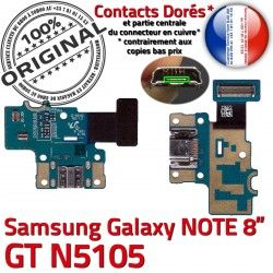 Contacts Chargeur Micro OFFICIELLE de ORIGINAL Qualité Samsung USB Connecteur Nappe Charge Réparation GT-N5105 GT Galaxy N5105 Doré C NOTE