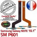 Samsung Galaxy NOTE SM-P601 C Chargeur de MicroUSB Charge Doré Réparation ORIGINAL SM Contacts P601 Connecteur OFFICIELLE Nappe Qualité