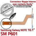 Samsung Galaxy NOTE SM-P601 C Réparation MicroUSB Nappe Connecteur Charge P601 Qualité ORIGINAL Chargeur Contacts SM de OFFICIELLE Doré