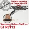 Samsung Galaxy GT-P5113 TAB2 Ch Réparation Contacts Charge TAB Qualité OFFICIELLE 2 GT ORIGINAL Connecteur MicroUSB P5113 Nappe Chargeur Dorés de