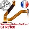Samsung Galaxy GT-P5100 TAB2 Ch Nappe OFFICIELLE TAB de Chargeur GT Qualité 2 Connecteur Charge Contacts MicroUSB ORIGINAL P5100 Réparation Dorés