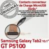 Samsung Galaxy GT-P5100 TAB2 Ch Contacts de Réparation OFFICIELLE Chargeur Qualité P5100 Dorés ORIGINAL Charge TAB MicroUSB 2 Connecteur Nappe GT