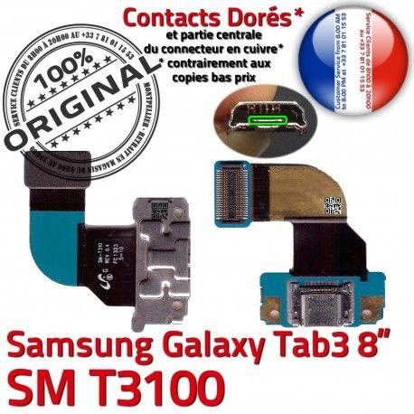 Samsung Galaxy SM-T3100 TAB3 Ch Contacts Charge Réparation Connecteur 3 de TAB OFFICIELLE ORIGINAL Dorés Qualité Chargeur T3100 MicroUSB SM Nappe