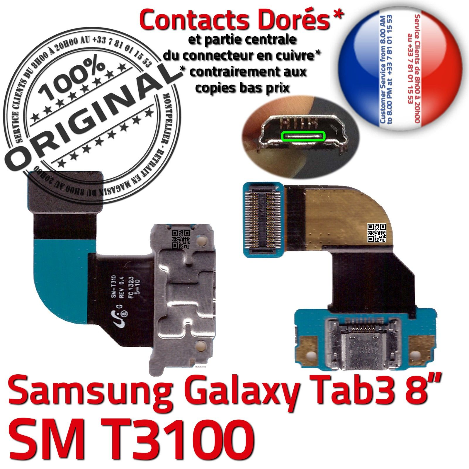 original samsung galaxy tab 3 sm t3100 connecteur de. Black Bedroom Furniture Sets. Home Design Ideas
