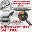 Samsung Galaxy SM-T3100 TAB3 Ch OFFICIELLE ORIGINAL Dorés MicroUSB Contacts Réparation 3 Chargeur Connecteur TAB de Qualité SM Charge T3100 Nappe