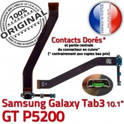 de GT-P5200 MicroUSB ORIGINAL Réparation Micro TAB3 Qualité Galaxy Nappe TAB USB OFFICIELLE Dorés Connecteur P5200 3 GT Contacts Samsung Charge Chargeur