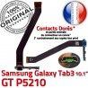 GT-P5210 Micro USB TAB3 Charge Galaxy Dorés ORIGINAL 3 Qualité Samsung GT de P5210 OFFICIELLE TAB Nappe Réparation Connecteur MicroUSB Contacts Chargeur