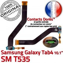 Samsung Charge Connecteur TAB4 Ch TAB OFFICIELLE Contacts de Chargeur Réparation Qualité 4 Dorés Nappe SM-T535 Galaxy ORIGINAL MicroUSB