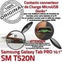 Samsung Galaxy SM-T520NC TAB PRO Connecteur Réparation Charge Qualité Contact de Nappe OFFICIELLE SM MicroUSB T520N Doré ORIGINAL Chargeur