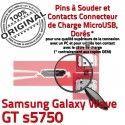 Samsung Galaxy Wave GT s5750 C charge Connector Flex Pins souder Prise Micro Dorés à USB Connecteur de ORIGINAL Chargeur Dock