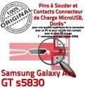 Samsung Galaxy Ace GT s5830 C Chargeur Pins Prise Connector de souder Micro ORIGINAL à USB charge Flex Dock Dorés Connecteur