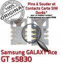 Samsung Galaxy Ace GT s5830 S Carte Dorés Connecteur ORIGINAL Contacts Prise à Lecteur SIM Reader souder SLOT Connector Pins Card