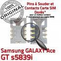 Samsung Galaxy Ace GT s5839i S Connecteur Reader Pins Card ORIGINAL à SIM Prise SLOT Carte Lecteur Dorés Contacts Connector souder