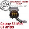 Samsung Galaxy S3 GT i8190 µSD Memoire Micro-SD GT-i8190 Doré Contact Read Lecteur Connector Qualité SD Connecteur ORIGINAL Carte Nappe Mini