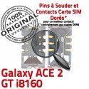 Samsung Galaxy ACE2 GT i8160 S Reader à souder Contacts SIM Connecteur Carte Dorés Lecteur SLOT ORIGINAL Pins Card Connector