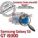 Samsung Galaxy S3 GT i9300 S Reader Connector Contacts Carte SIM Memoire Nappe Lecteur Connecteur Micro-SD Dorés ORIGINAL Qualité