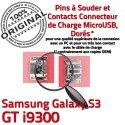 Samsung Galaxy S3 GT i9300 C ORIGINAL Pins Dock à souder Micro charge Dorés de USB Prise Connecteur Flex Chargeur Connector
