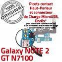 Samsung Galaxy NOTE2 GT N7100 C Connecteur OFFICIELLE MicroUSB Nappe ORIGINAL Microphone Chargeur Prise Antenne Charge Qualité RESEAU