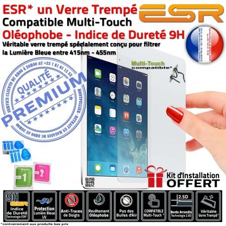 Verre Trempé Apple iPad A1460 Chocs Anti-Rayures Oléophobe Ecran UV 9H Multi-Touch Vitre Lumière Bleue ESR Filtre 4 Protection