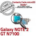 Samsung Galaxy NOTE 2 GT-N7100 S ORIGINAL SIM Memoire Nappe Contact Lecteur Doré Qualité Connector SD Connecteur Reader Carte