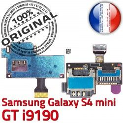 Connecteur S Connector Memoire Reader ORIGINAL mini S4 Nappe Micro-SD Lecteur Carte SIM Dorés min GT Galaxy Samsung i9190 Contacts