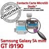 Samsung Galaxy S4 min GT i9190 S Lecteur SIM Carte Memoire Connector Nappe Reader Micro-SD ORIGINAL Connecteur mini Contacts Dorés