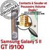 Samsung Galaxy S2 GT i9100 V Son Nappe Dorés Circuit Connecteur à Bouton souder Contacts 2 Volume Connector ORIGINAL Switch Pins OR S SLOT