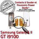 Samsung Galaxy S2 GT i9100 P OR à Connecteur Dorés Pins 2 Nappe Marche SLOT S souder Connector Contacts Circuit Switch Arrêt ORIGINAL Bouton