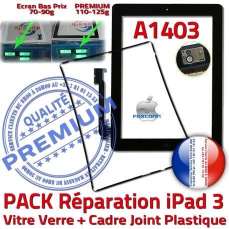 PACK iPad 3 A1403 Joint N Adhésif Réparation HOME Vitre PREMIUM Precollé KIT Tactile iPad3 Chassis Verre Noire Bouton Cadre Tablette Apple